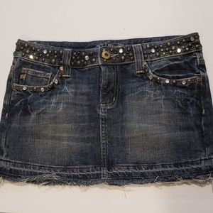 Miss Me | Denim Rhinestone Skirt
